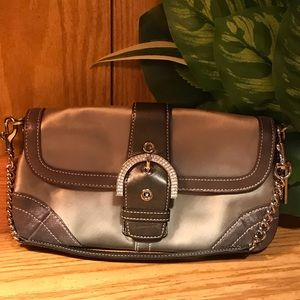 COACH Grey Suede/ Leather Evening Purse